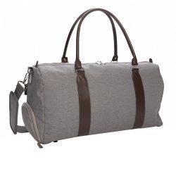 Geanta de weekend cu mufa de incarcare usb, Everestus, WD, poliester 600D, gri, saculet de calatorie si eticheta bagaj incluse