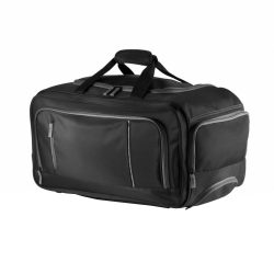 Geanta troler cu 4 compartimente, Everestus, CY, microfibra, pp, negru, saculet de calatorie si eticheta bagaj incluse