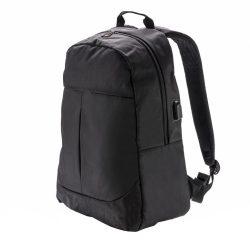 Rucsac Laptop 15 inch cu iesire mufa usb, Everestus, PR, poliester 600D, negru, saculet de calatorie si eticheta bagaj incluse