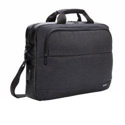 Geanta laptop 15 inch, Swiss Peak by AleXer, MN, poliester, negru, breloc inclus din piele ecologica si metal