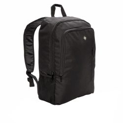 Rucsac Laptop 17 inch, business, Swiss Peak by AleXer, BS, poliester 600D si 1680D, negru, breloc inclus din piele ecologica