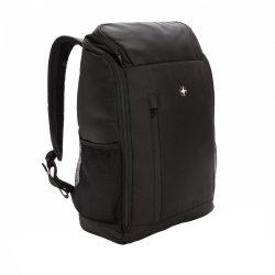 Rucsac Laptop 15 inch modern si minimalist, RFID, pvc free, Swiss Peak by AleXer, poliester 1680D si 600D, negru, breloc inclus