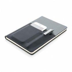 Agenda A5 cu buzunare pentru telefon si pix, Everestus, DE, pu, hartie, negru