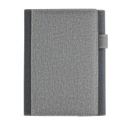 Agenda A5 coperta magnetica, suport pix si 3 locuri de carduri, 128 pagini, Everestus, DE, pu, hartie, gri