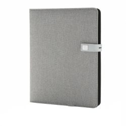 Agenda cu Powerbank 3000 mAh, stand pentru telefon, memorie usb 16 GB, XD by AleXer, KO, poliester, gri, breloc inclus