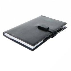 Agenda A5 cu memorie usb 8 GB si pix stylus, Everestus, EE, pu, hartie, negru