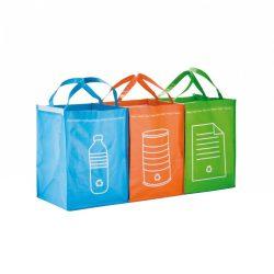 Set 3 sacose pentru colectarea selectiva a deseurilor, Everestus, RE01, polipropilena, verde