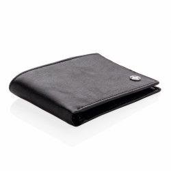 Portofel design slim, anti-frauda cu protectie RFID, Swiss Peak by AleXer, RD, pu, negru, 83x115x6 mm, breloc inclus