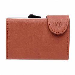 Portofel pentru carduri securizat RFID, Everestus, CE, pu, aluminiu, maro, 16x68x95 mm, lupa de citit inclusa