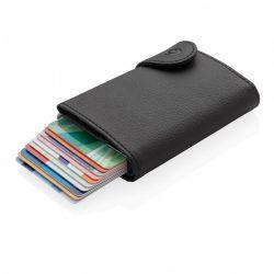 Portcard pentru 12 carduri bancare, protectie RFID, Everestus, 9IA19076, Aluminiu, Poliuretan, Negru, 98x120 mm