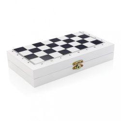 Joc 3-in-1 in cutie de lemn, 20x21x1.8 cm, Everestus, 20SEP0319, MDF, Lemn, Alb