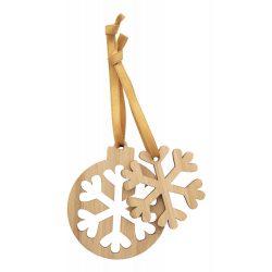 Ornament de Craciun, Fulg de Zapada, 71,5x85x3 mm, Everestus, 20SEP0586, Bambus, Natur