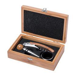 Set 3 accesorii vin in cutie, 160×100×45 mm, Everestus, 20FEB17224, Bambus, Natur