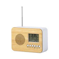 Ceas de birou cu radio, 125×85×45 mm, Everestus, 20FEB3523, Bambus, Natur