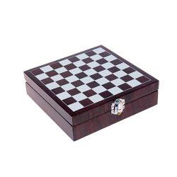 Set 8 accesorii vin in cutie cu tabala de sah, 169×49×169 mm, Everestus, 20FEB17206, Lemn, Maro