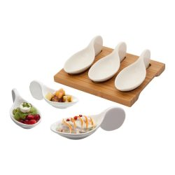 Gourmet set, 153×125×50 mm, Everestus, 20FEB11005, Ceramica, Bambus, Alb, Natur
