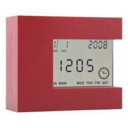Ceas de birou multifunctional, 110×92×40 mm, Everestus, 20FEB3502, Plastic, Rosu