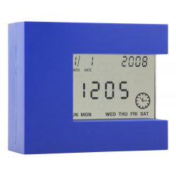 Ceas de birou multifunctional, 110×92×40 mm, Everestus, 20FEB3501, Plastic, Albastru
