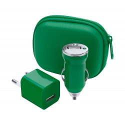 Usb charger set, 60×35×75 mm, Everestus, 20FEB12770, Plastic, Verde, Alb