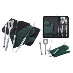 Set 4 accesorii Barbeque, 390×210×40 mm, Everestus, 20FEB4677, 600D Poliester, Otel inoxidabil, Argintiu