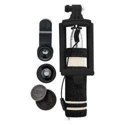 Selfie set, 82×150×34 mm, Everestus, 20FEB4411, Otel inoxidabil, Sticla, Negru