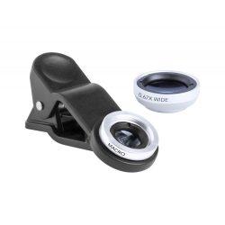 Smartphone lens kit, 95×160×25 mm, Everestus, 20FEB4421, Sticla, Aluminiu, Alb, Negru