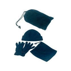 Set polar format din 3 piese, unisex, marime universala, 190×295×60 mm, Everestus, 20FEB3494, Polar fleece, Albastru
