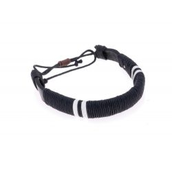 Bracelet, ø70×13 mm, Everestus, 20FEB5505, Piele, Bumbac, Negru