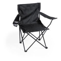 Scaun camping pliabil cu suport pahar, 830×790×475 mm, Everestus, 20FEB10868, 600D Poliester, Negru