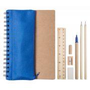 Set agenda A5 si pix, 7 piese, 155×210×9 mm, Everestus, 20FEB10272, Hartie reciclata, Albastru, Natur