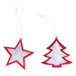 Christmas ornament set, 80×80 mm, Everestus, 20FEB16246, Material netesut, Argintiu, Rosu