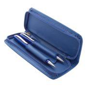 Set 2 instrumente de scris, ø10×130 mm, Everestus, 20FEB11322, Metal, Piele ecologica, Albastru