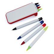 Set instrumente de scris, 52×130×12 mm, Everestus, 20FEB11339, Plastic, Rosu