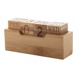 Calendar perpetuu cu suport pentru birou, 110×35×50 mm, Everestus, 20FEB7839, Bambus, Natur