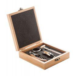 Set 4 accesorii vin in cutie, 147×168×49 mm, Everestus, 20FEB17213, Otel inoxidabil, Bambus, Maro
