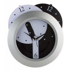 Ceas de perete, ø280 mm, Everestus, 20FEB3409, Plastic, Argintiu, Negru