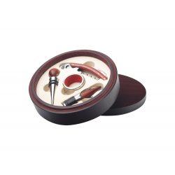 Set 4 accesorii vin in cutie rotunda, ø160×40 mm, Everestus, 20FEB17232, Lemn, Otel inoxidabil, Maro