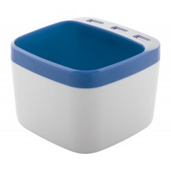 Suport pixuri cu hub usb, 95×95×70 mm, Everestus, 20FEB3442, Plastic, Albastru, Alb